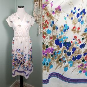 🆕️70s White Summer Print Midi Disco Dress